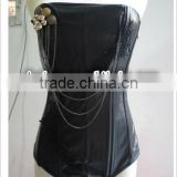 New Sexy Lace Up Black Women Corset Top Bustier Faux Leather Zipper