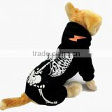 Wholesale Luminous shock dragon Spring Autumn Fleece skeleton Pattern Black Dog Clothing Pet Clothes