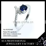 China Fashion 925 Sterling Silver Jewelry Wholesale women's ring with blue stone 925 knuckle ring