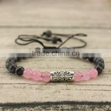 BRB1378 Wholesale Rose quartz Onyx beaded carved bar macrame women bracelet
