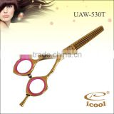 professional Copper color and Pink finger ring hair scissors