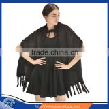Hot Selling Style 2015 Fashionable Knitted Real Mink Fur Shawl with pockets