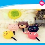 Cute animal silicon dust plugs For Mobile phone ear dust cap plug