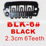 BLK-6# Retail and wholesale 23mm long black color 6 U shape teeth easy snap clips for hair extensions wigs wefts weavings