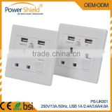 UK type 3Pin 13amp wall switch socket with Dual USB charging power Socket for hotel,home,office BSi 1363