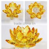 Crystal yellow flower lotus,crystal yellow flower lotus for home decoration,crystal yellow flower lotus for crystal gift