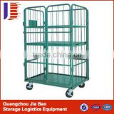 Four wheel Logistics Trolley 4 tier shelving unit For Warehouse / Cargo Cart