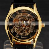 Skeleton Design Black Gold Dial Watch Montre Homme Mens Watches Top Brand Luury Relogio Male Mechanical Watch
