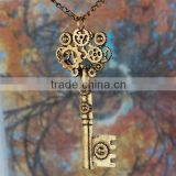 Hot-Sale Elegant Long Chain Steam Punk Pendant Necklace Alloy Key Necklace
