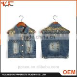 Guangzhou OEM factory price sleeveless button Sequined denim jeans ladies tops for women