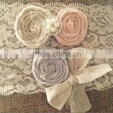 Blush Pink Burlap Flower Wedding Garter,Rustic Decoration Ribbon Lace Leg Garter For Prom