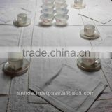 100% Cotton Hand Embroidery Table Cloth Flower Pattern For Hotel Or Restaurant