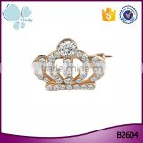 Fashion men's suits clothing accessories high quality diamond crown brooch pins                                                                                                         Supplier's Choice