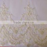 2015 new design Embroidery trimming lace with cord for veil lace border for weddling dress