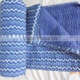 Handmade Indigo Hand Block Printed Kantha Quilt Throw Organic Vegetable Bedspreads Bed Cover
