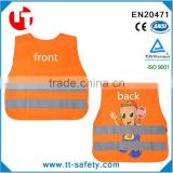 EN1150 children kid orange roadway security reflective glow in the dark safety warning vest