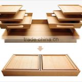 High quality Bamboo large food tray new design 7 Serving tray set can be nested together for easy storage bamboo tray