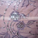 shinny 3MM rose gold sequins embroidery fabric for lady dress purple metallic thread mesh ground