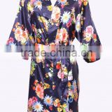 cheap customized Wedding Party Short Women Bridesmaid Floral Satin Robe