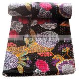 RTHKG-37 Beautiful Modern Floral Black Elegant Look Indian Traditional Bengali Kantha Gudari Bedspread Wholesaler Throws