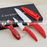 4 pc Kitchen Ceramic Knife Set Blade Sheath Utility Fruit Paring Peeler Ceramic Kitchen Knives Set with black gift box