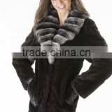 Genuine Mink Coat With Chinchila Fur Collar Women's Chinchilla Minkcoat Fur Leather Jackets Best Wholesale / Retail
