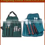 cheap price stainless steel fork tongs wood handle fabric bbq apron tools set                                                                         Quality Choice