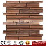 IMARK Brown Color Crystal Glass Mosaic Tiles with Hand Painting Mosaic Tiles for Wall Decoration Code IVG8-038