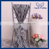 SH0006A New cheap elegant fancy wedding black and white stripe satin chair sash with buckle