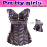coffee zipper front sexy women leather corset m1985
