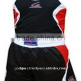 Provide Maximum Mobility Satin Material Short Net Designed Vest Black Men Kick Boxing Uniform