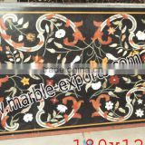 Stone Dining Rectangle Pietra Dura Marble Inlay Dining Table Top, Marble Top