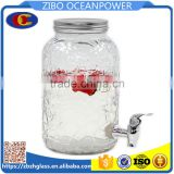 embossing surface 6L glass dispenser for party drink with tap