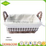 Custom China best sales handmade fabric lining cheap wicker bread baskets for supermarket display