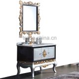 Italian Neo Classic White and Golden Custom Solid Wood Single Basin Bathroom Cabinet with White Marble Countertop BF12-06134a