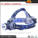 OEM T6 Rechargeable Led 1600Lm High Power Zoom Headlamp Camping Frontal Light Head Torch