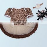 2017 3PCS baby sets Leopard printing romper, romper+ headband+one pair of shoes