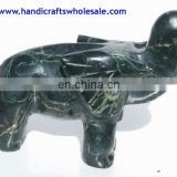 Handcrafted Exotic Art Sculpture - Unique Jade Elephant Figurine Handmade Home Decoration Crafts Stone Statues Carved Collection