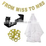 hen Party supplies Bride To Be lace sash veil miss to mrs banner ring confetti bachelorette party favors.