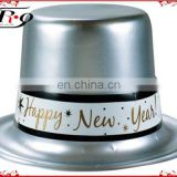 Happy New Years Plastic Silver Top Hat