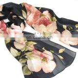 best seller ladies' kerchief, floral printing fashion long polyester scarf for ladies