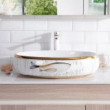New fashionable oval no hole ceramic wash hand basin sink on tabletop
