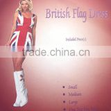 Adult British Flag Dress Sexy Spice Costume Ginger Girls Movie Fancy Dress
