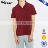 Hot Sale Custom Mens Burgundy Towelling Polo Shirts                                                                         Quality Choice