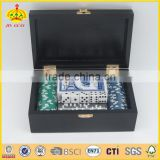Custom design 2 in1 domino poker chips set in wooden box with playing cards and dice