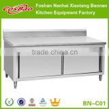 Commercial Stainless Steel Kitchen Cabinet With Sliding Doors And Backsplash BN-C01                                                                         Quality Choice