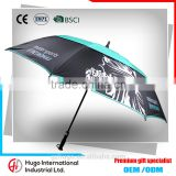 2016 Custom High Quality Durable Handy Wet and dry Auto Open Double Windproof Layer Golf Umbrella                                                                         Quality Choice