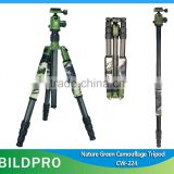 BILDPRO Camouflaged Tripod Camera Professional Multifunctional Tripod Stand 3/8 Screw Go Pro Tripod Mount Adapater