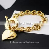 Wholesale stainless steel charm bracelets uk Love heart Bracelet with T clasp 9310