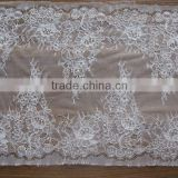 Newest Ivory Bridal Wedding Fabric Lace /rigid stretch double scolloped guipure lace trimming/pearls beaded lace fabric